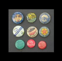 Collectible  9 very old pinback badges political patriotic #016